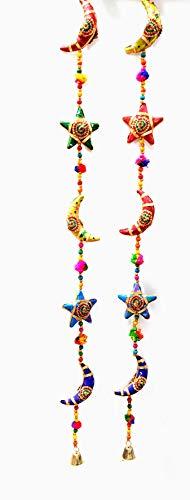 Sawcart Handmade Moon Stars Cotton Stuffed Rajasthani & Gujarati Style Cultural Traditional door Hanging Pair Decorative Ladi, Latkan In Vibrant Colors For Home Decor, Office Decor, Wall, Door, Window