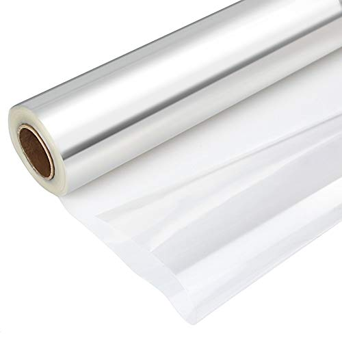 KEILEOHO Clear Cellophane Wrap Roll 15.8 inches x 328 feet Long 2.3 Mil Thick, Cellophane Rolls for Baskets Gifts Flowers Food Safe Wrapping