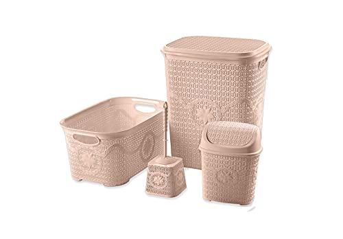 Tradify Set de 4 Piezas Cesto para la Ropa Sucia con Tapa 65 litros, Cesta para la Colada 35 litros y Accesorios de baño. (Arena)