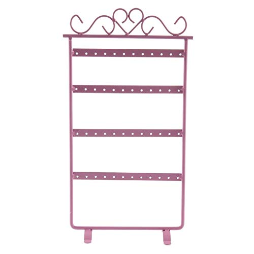 QiKun-Home Pendientes de 48 Orificios Pendientes de Oreja Estante de exhibición Soporte de joyería de Metal Escaparate para entornos minoristas o Dentro de la casa Rosa