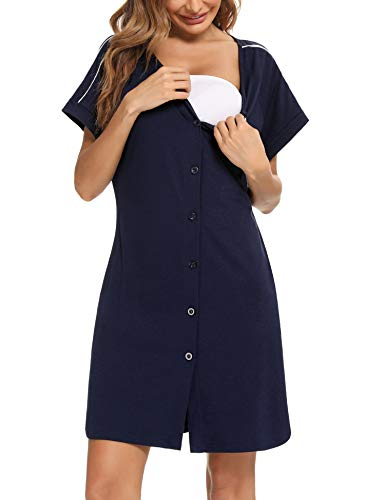 iClosam Camisón Algodón Mujer Verano Manga Corta Pijama Casual Suave Ropa de Dormir Cómodo y Casual (S,Azul)