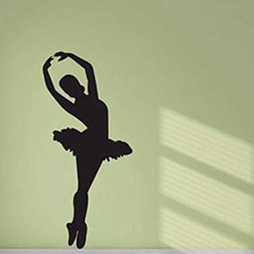 sxh28185171 Bailarina de Ballet Silueta Vinilo removible Arte de la Pared Sala de niña Estudio de Danza de Ballet Mural decorativo40x90cm