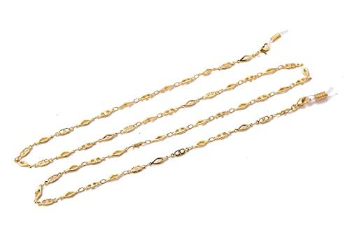 AMOZ Cadena de eslabones con figura geométrica de rombo de moda para gafas de sol con correa para gafas de sol, collar largo para mujeres y niñas, goma blanca, cadena de eslabones dorados
