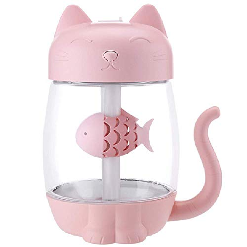 USB Cat Cool Mist Humidifier, 3 in 1 350ml Polyme Water Mist Mode & Auto Shut-Off, Vency Baby Humidifier with 6 Color LED Lights Changing, for Home Car Office, Air Humidifier with Small Fan(Pink)