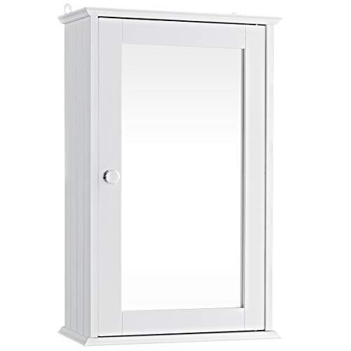 GIANTEX Hängeschrank mit Spiegel, Spiegelschrank Wandschrank eintürig, Badschrank Badezimmerschrank mit verstellbarem Einlegeboden & 2 Fächern, 34x15x51cm, weiß