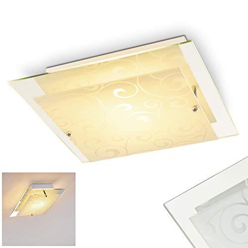 Eckige Deckenlampe Rusty, florales Dekor, weiß-mattiert, Deckenleuchte mit Lampenschirm aus Glas, E27-Fassung, max. 60 Watt, für Wohnzimmer, Schlafzimmer, Küche, Flur