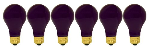 GE Black Light, Incandescent Light Bulb, A19 Black Light Bulb, 60-Watt, Black Light Bulb, Medium Base, 6-Pack