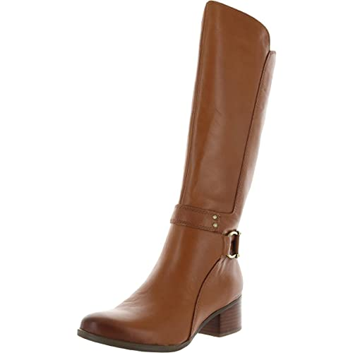 Naturalizer Womens Dane Leather Tall Riding Boots Brown 9 Wide (C,D,W)