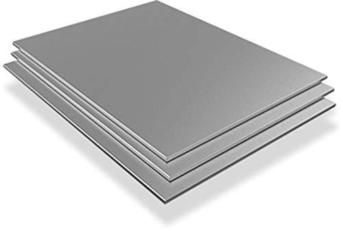 Chapa de acero inoxidable de 3 mm (Aisi – 304 (V2A) / 1.4301 / X5CrNi18 – 10), placas de corte a elegir, 150 x 400 mm