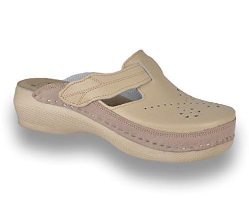LEON PU156 Zuecos Zapatos Zapatillas de Cuero para Mujer, Beige, EU 40