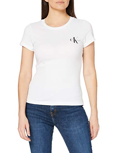 Calvin Klein Jeans 2 Pack Slim T-Shirt Camiseta, Blanco Brillante/Blanco Brillante, XL (Pack de 2) para Mujer