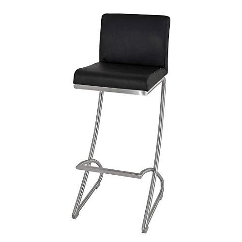 Haku meubel barkruk van roestvrij staal/echt leer, zwart, set van 2