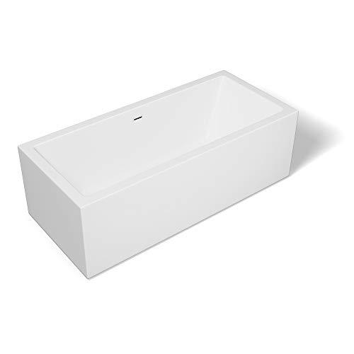 Sogood Freistehende Design-Badewanne Vicenza509 180x80x58cm mit Ablaufgarnitur und Überlauf aus Acryl in Weiß und DIN-Anschlüssen