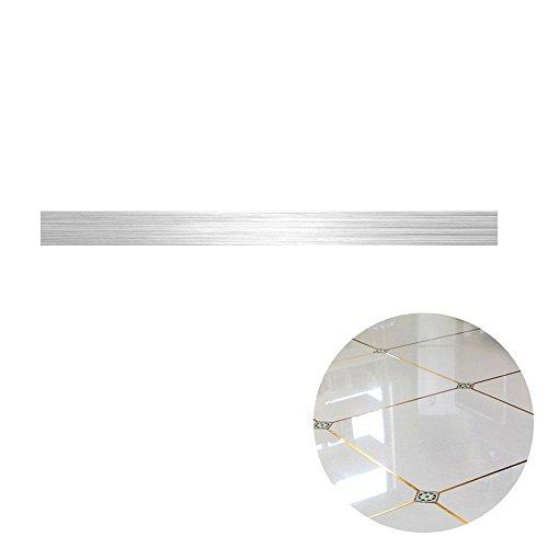 AOLVO Boden Fugen Fliesen Aufkleber Tape Strip Golden Line Bordüre Aufkleber–Gold/Silber Folie Selbstklebend Wand Boden Decor, Silber,...