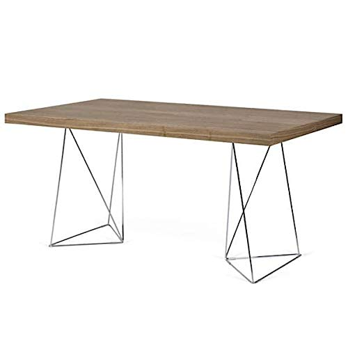 mds Bureaux et Tables Multi 160 ou Multi 180, épurés et Fonctionnels. TEMAHOME - Multi 180 cm, Noyer (placage), Pieds chromés