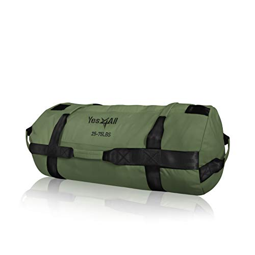 Yes4All Workout Sandbags, Heavy Duty Sandbags for Fitness, Conditioning, MMA & Combat Sports - Army Green - M