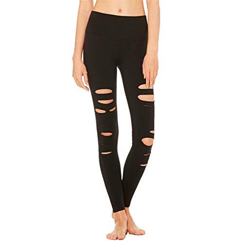 SotRong - Pantalones de yoga para mujer, cintura alta, recortados, control de barriga, para entrenamiento, correr Negro Negro ( XL