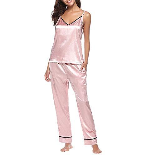 nobrand Damen Seidensatin Pyjama Set Sling Pyjama Lange Hosen Set Frauen Schlaf Zweiteilige Freizeitkleidung Plus Size