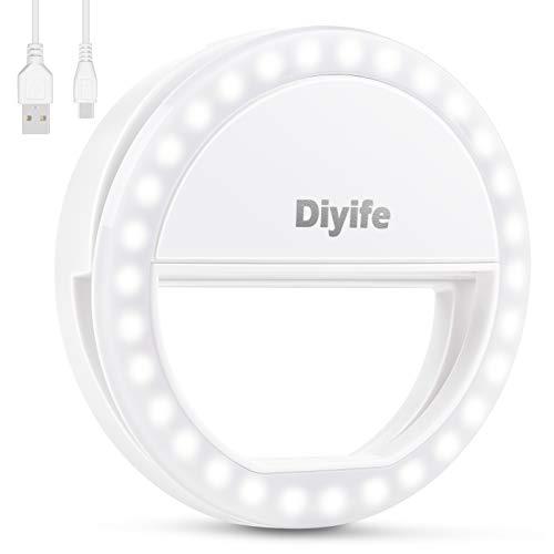 Diyife Selfie Ring Light, [Ultima Versione] Ricaricabile Luce Dell Anello Selfie 3 Livelli di Luminosità 36 LED con Clip di Regolazione su Telefono Cellulare per Youtube, Tiktok, Live Stream
