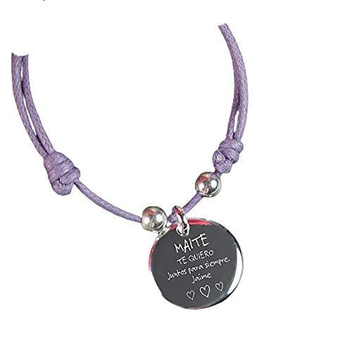 Calledelregalo Regalo Personalizado: Pulsera con Medalla de Plata grabada con Nombre, dedicatoria y un Bonito Motivo de Flores