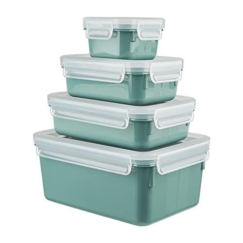Emsa N10310 Clip & Close Color Edition 4-teiliges Frischhaltedosenset | 0,2/0,55/0,8/2,2 l | auslaufsicher | hygienisch | BPA-frei | spülmaschinen-, mikrowellen- und gefriergeeignet | Puder Grün