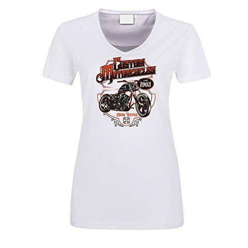 Camiseta para mujer, color blanco, personalizada, para moto Blanco S