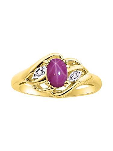 RYLOS Classic Gemstone Red Star Ruby & Diamond Ring - July Birthstone
