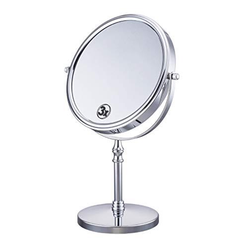 Miroir de maquillage double face à LED Rotation à 360 degrés Rotation à 6 pouces 3 fois Miroir HD Anti-dérapant Anti-rouille, Silver