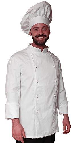 Promo - Completo Cappello e Giacca Casacca da Cuoco Chef Cotone Bianca Classica - SPEDIZIONE 24/48h a casa Tua (XXXL)