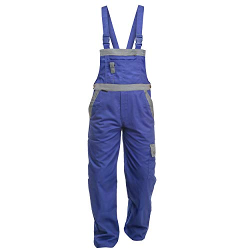 Charlie Barato L13216KG/54 Arbeitshose Sweat Life Latzhose für Handwerker, Kornblau/grau, 54