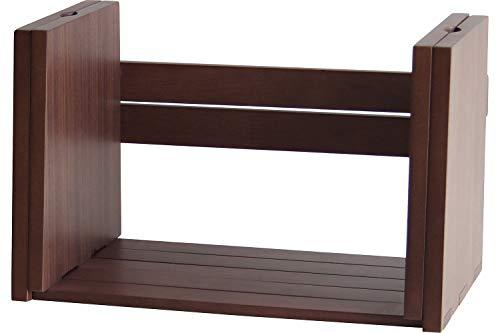 ブックスタンド 本立て ブックラック 完成品 コミックラック マンガ収納 雑誌立て 収納棚 シンプル 天然木 木製 おしゃれ (ダークブラウン)