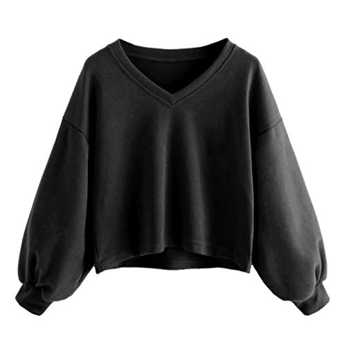 Fosen Sudaderas Mujer Cortas Tumblr Adolescentes Chicas Juveniles Niña - Cuello en V Camiseta Manga de Burbuja - Casual Originale Suéter de Color Liso - Ropa Juvenil Otoño 2019