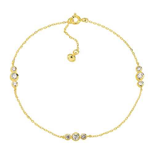 Silpada 'Clarity' Loll Anklet with Cubic Zirconia in 18K Gold-Plated Sterling Silver, 9