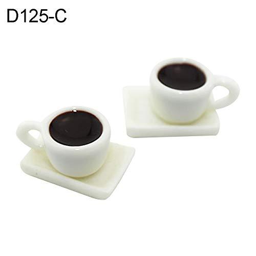 qingsb 1/12 Puppenhaus Holz Miniatur Kaffeetasse Untertasse Simulation Modell Kinder Spielzeug D125-c