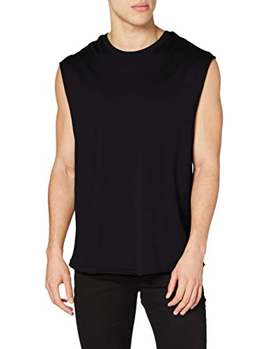 Urban Classics Open Edge Sleeveless tee Camiseta, Negro (Black 7), L para Hombre