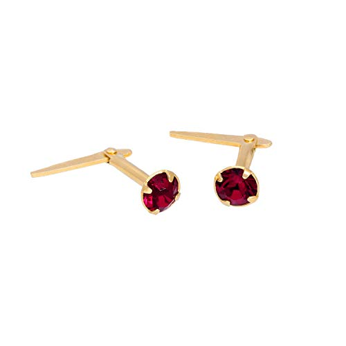 18k Gold Dipped Sterling Silver & 3mm Ruby CZ Crystal Andralok Earrings