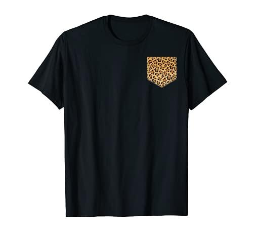Camisa de bolsillo con estampado de leopardo   Regalo de guepardo para amantes de los animales Camiseta