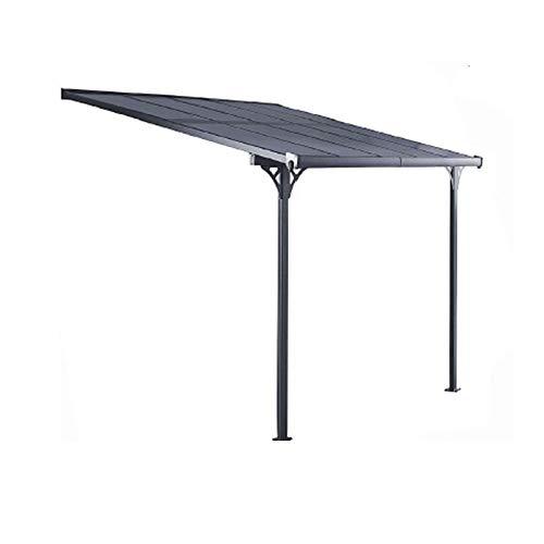 Gardiun KIS13008 - Pérgola de Pared Elliot - 8 m² 313x254x220/260 cm Aluminio y Policarbonato