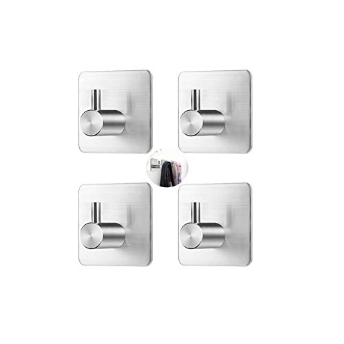 Self Adhesive Hooks, Stainless Steel Adhesive Hooks, Door Hooks, Coat Hooks, Strong Adhesive Wall Hanger Waterproof Sticky Hooks for Kitchen Bathroom Toilet-No Drill Glue Needed-4 Pack