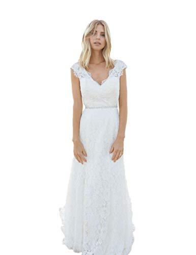 Aoturui diep V-hals bohemien trouwjurken open rug romantisch kapmouwen kant bruidsjurk bruidsjurk