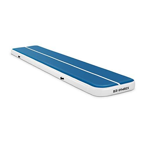 Gymrex GR-ATM6 Tumbling Matte 5m Aufblasbare Turnmatte 500 x 100 x 20 cm Gymnastikmatte Fitnessmatte Sportmatte Yogamatte 250 kg blau/weiß