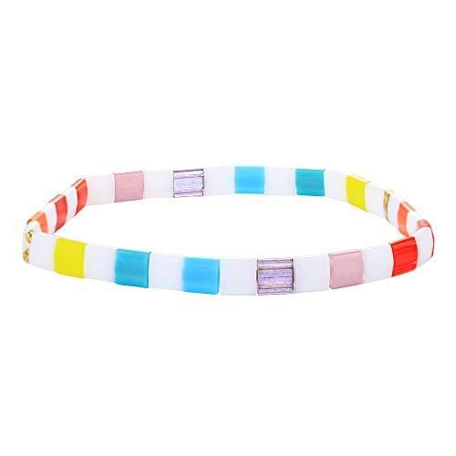 C·QUAN CHI TILA Strand Bracelets Stretch Friendship Bracelet Colorful Beaded Bracelet Bangle TILA Stackable Bracelets for Women Girls, X