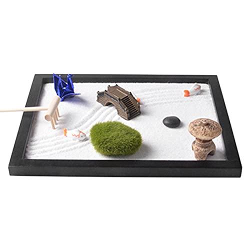tidystore Japanische Zen-Garten-Kits für Schreibtisch- und Bürozubehör Zen Garten Set Zubehör und Werkzeuge beinhaltet, Felsen, Rechen, Moossteine, Fische, Laterne, Brücke und Origami