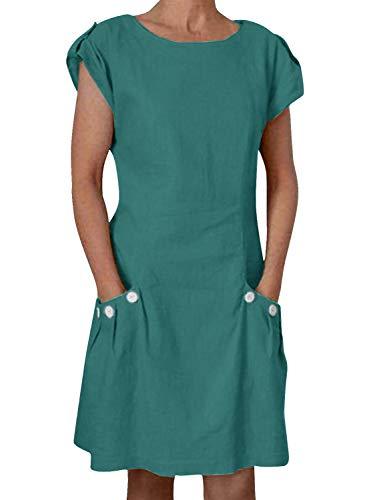 Yidarton Damen Kleider Leinen Strandkleider Elegant Casual A-Linie Kleider Ärmellos Sommerkleider,Grün,M