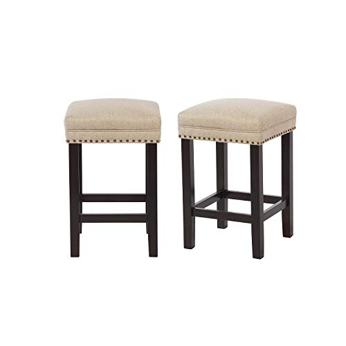 RUUF Counter Stools Set of 2   24\u0026quot; Backless Bar Stools   Unique Large Square Seat Fulfiied with Foam \u0026amp; Spring   Solid Rubber Wooden Legs   Beige Counter Stools for Dining Room, Living Room, Study