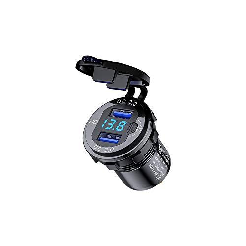 USB Steckdose 12V KFZ Ladeadapter [Quick Charge 3.0 Ladegerät] Auto USB Adapter mit Schalter, Blau LED Voltmeter, USB Zigarettenanzünder Adapter Kompatibel mit Note 9/S10/S9/S8 (Schwarz)
