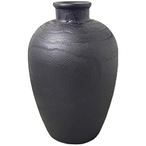 whl Solid Wood Vase Wabi-Sabi Style Ornaments Black Fired Vase Japanese Zen Ornaments Ornaments Retro Home (Color : Black)