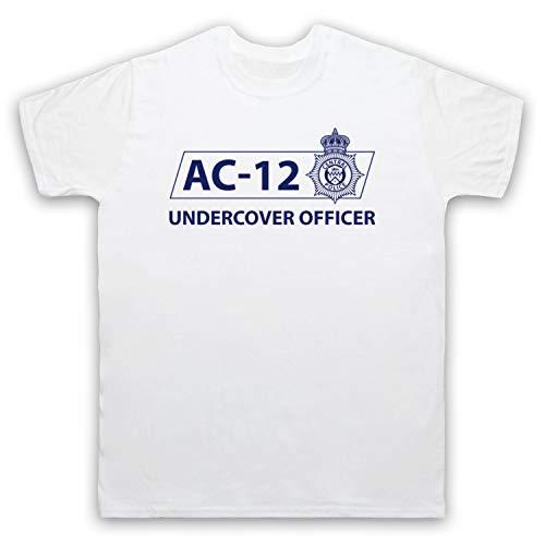 Inspired Apparel Inspirado por Line of Duty AC-12 Undercover Officer No Oficial Camiseta para Hombre, Blanco, 4XL