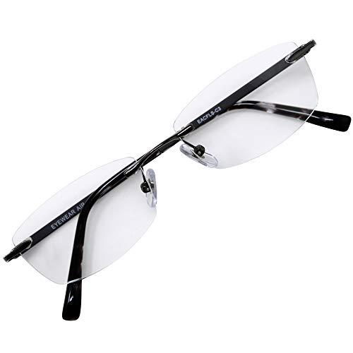 フチなし 軽い 老眼鏡 アイウェアエア おしゃれなフレームレス メンズ レディース ブルーライトカット +0.5〜+2.5 4色 スクエア アッシュグレー c3 +1.50