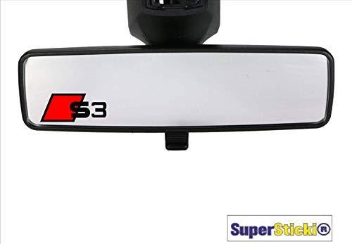 SUPERSTICKI 2 x kompatibel für Audi S3 Rückspiegelaufkleber Rennsport Racing Tuning Decal Sticker Hobby Aufkleber Decal Sticker aus Hochleistungsfolie
